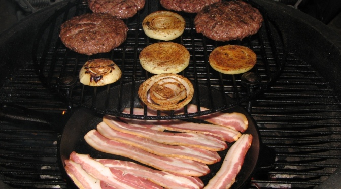 Blue Cheese Stuffed Bacon & Grilled Onion Burgers