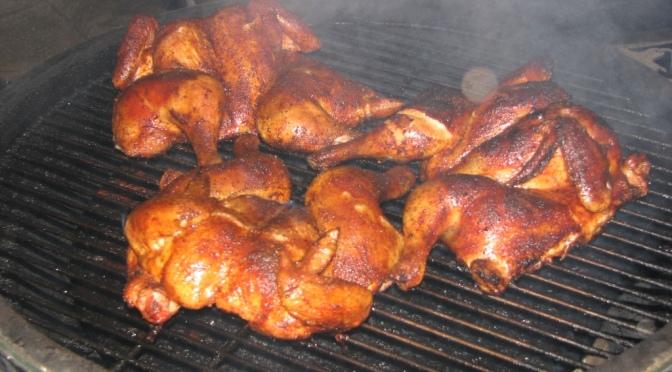 Spatchcock Chicken Spice Rub Throwdown on the XL