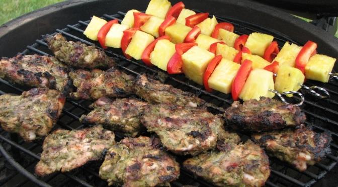 Jerk Chicken and Pineapple Skewers