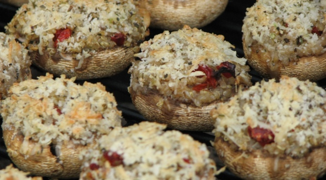 Sundried Tomato & Quinoa Stuffed Mushrooms